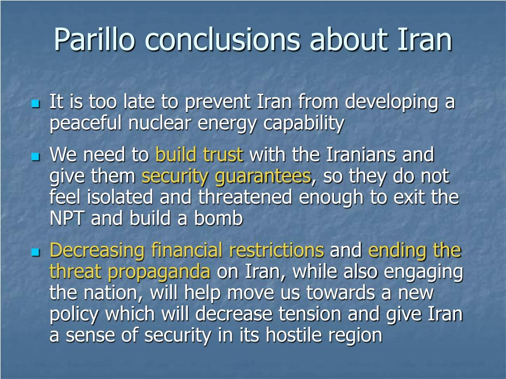 Parillo conclusions about Iran