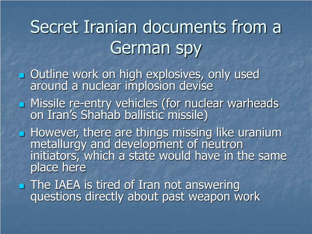 Secret Iranian documents from a German spy