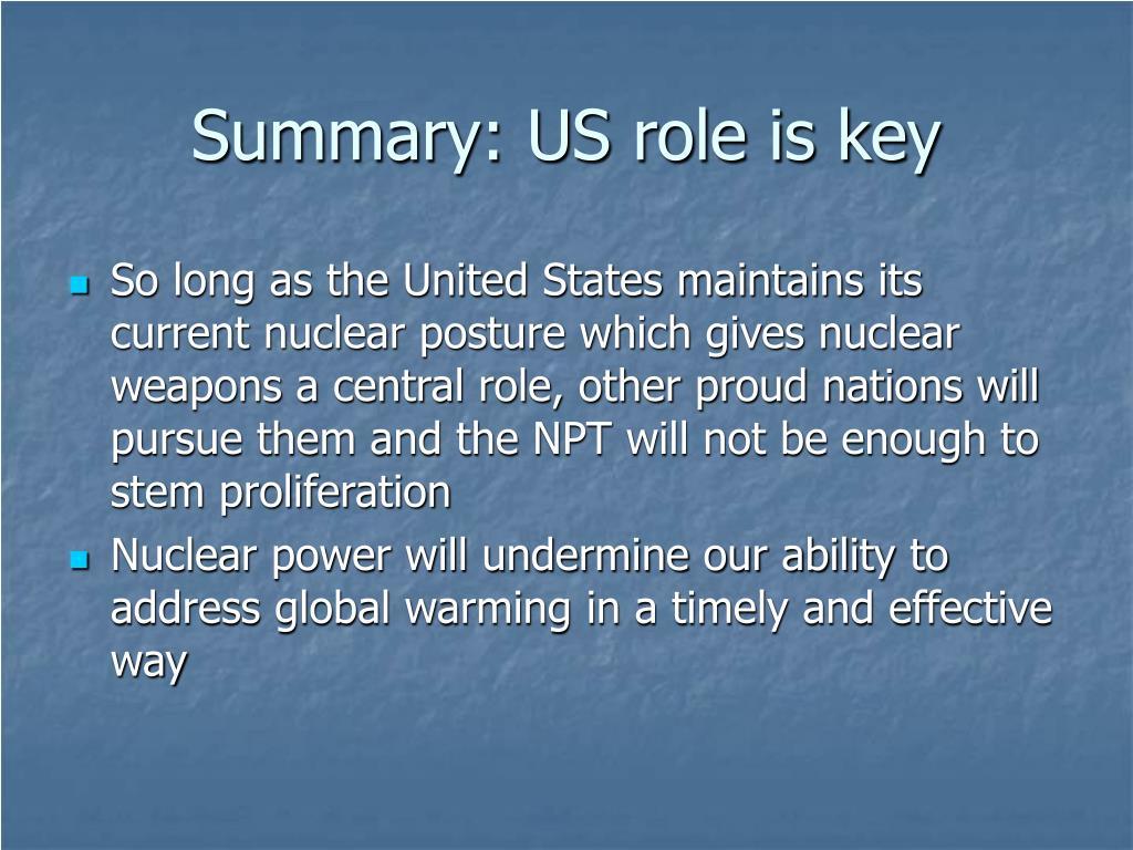 Summary: US role is key