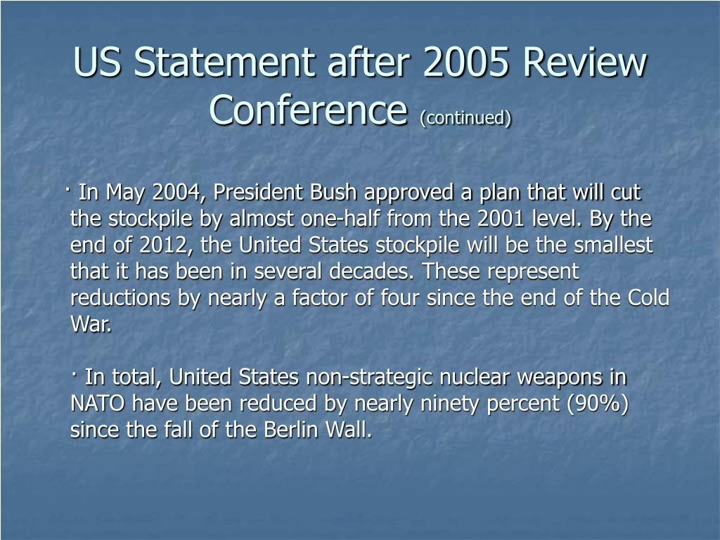 US Statement after 2005 Review Conference