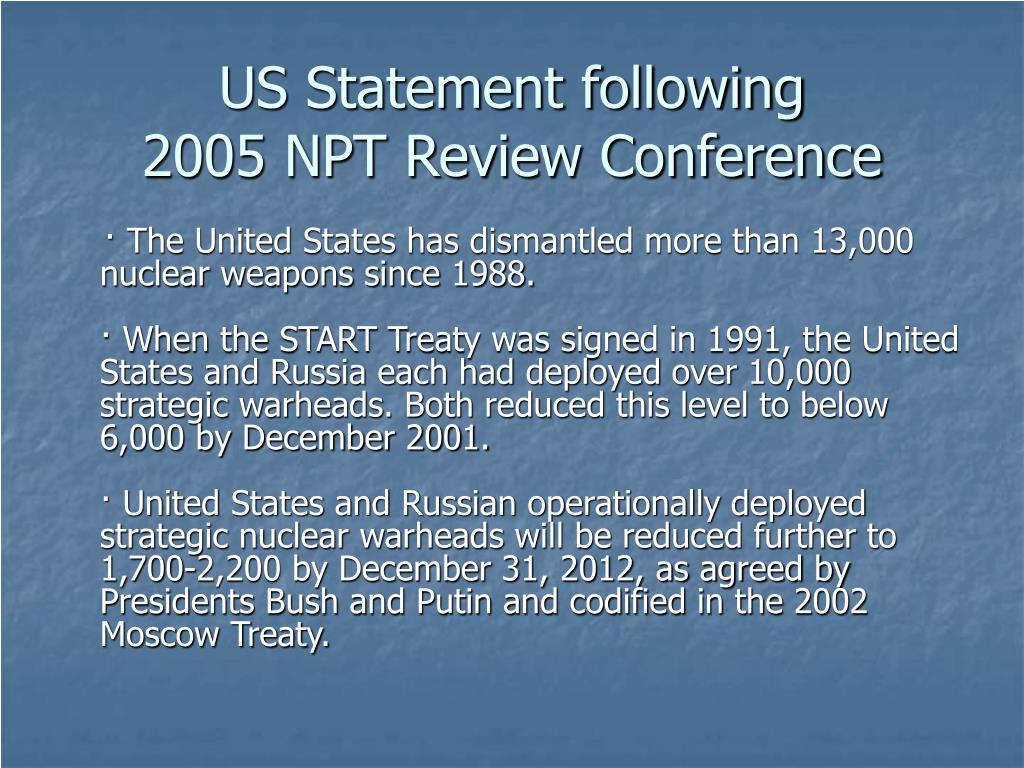 US Statement following