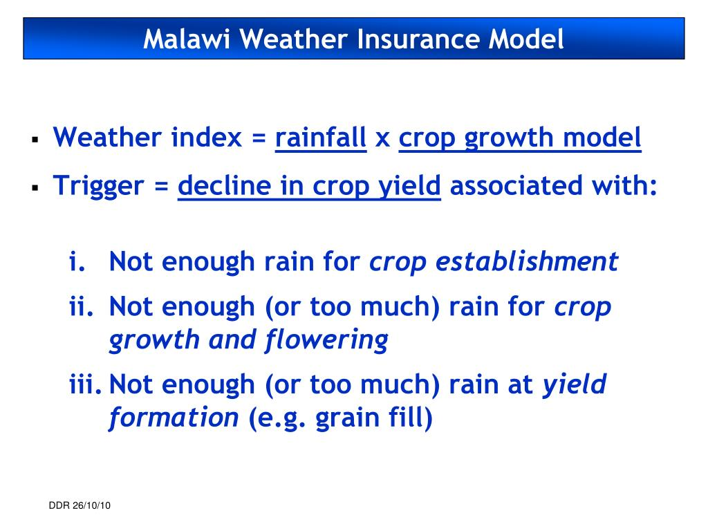 Malawi Weather Insurance Model
