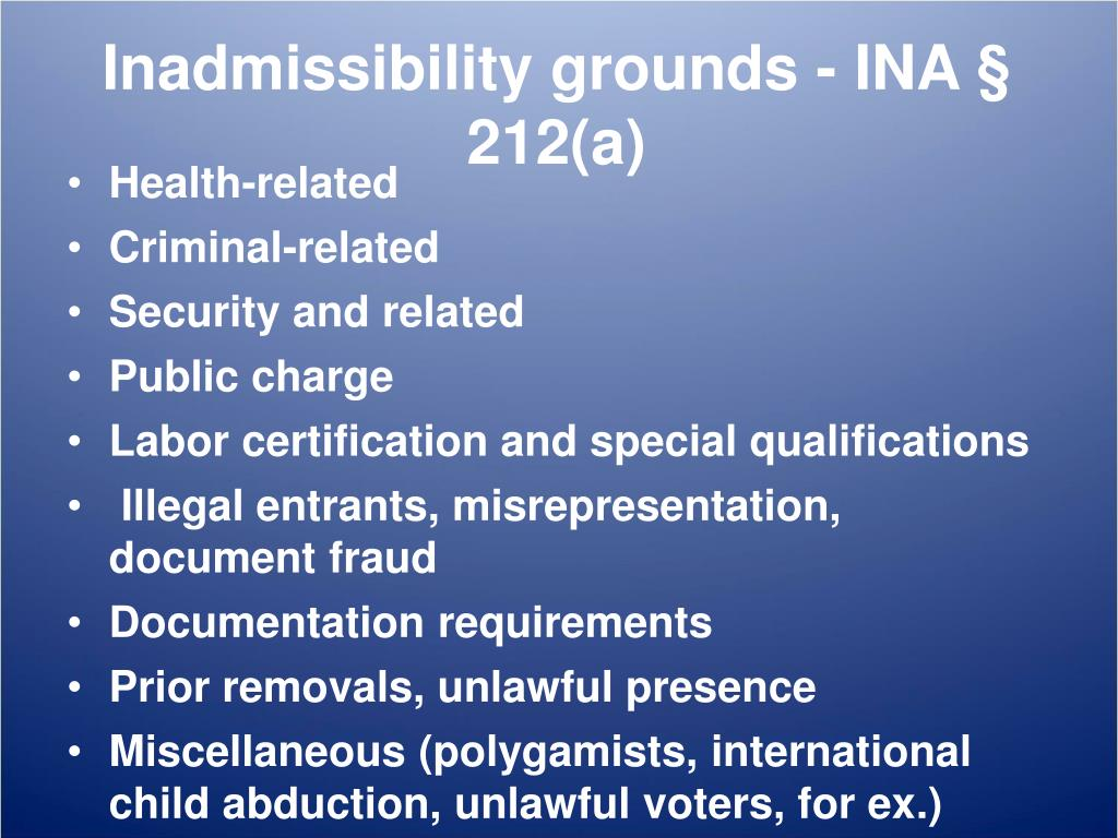 PPT - U visas and inadmissibility issues PowerPoint ...