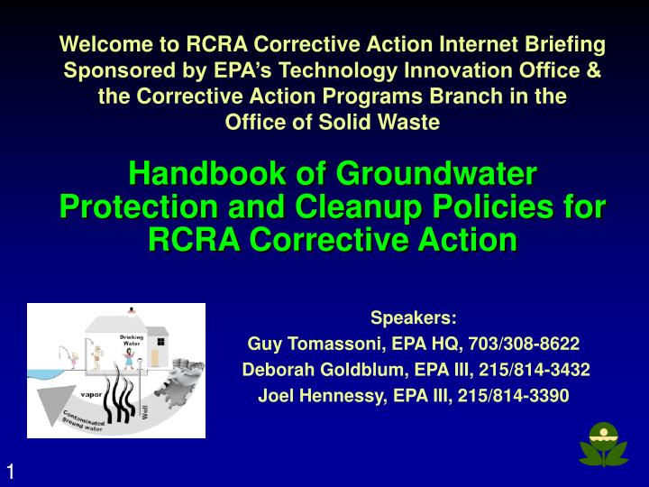 Handbook of groundwater protection and cleanup policies for rcra corrective action l.jpg