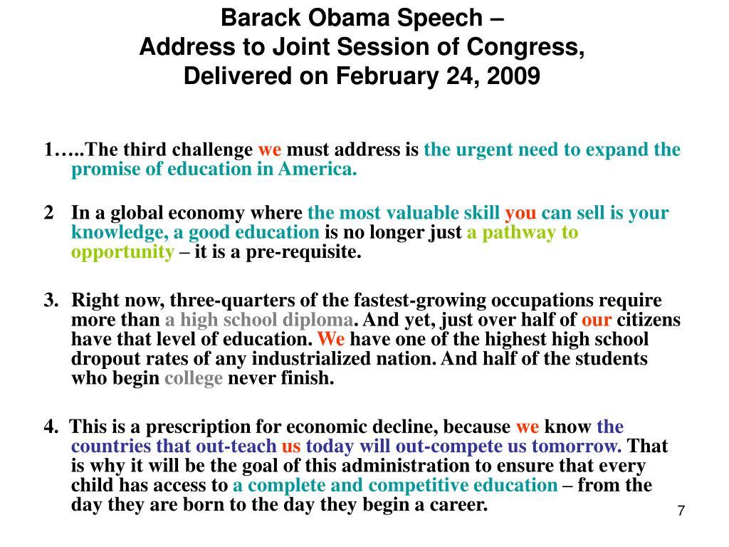 Barack Obama Speech –