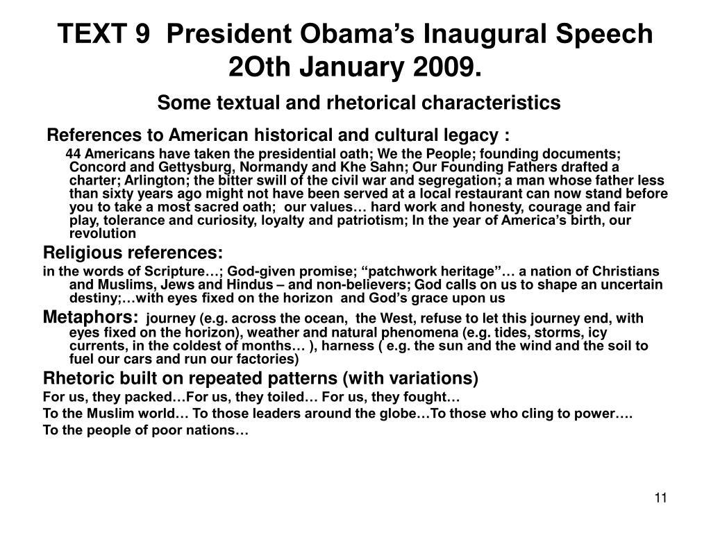 TEXT 9  President Obama's Inaugural Speech