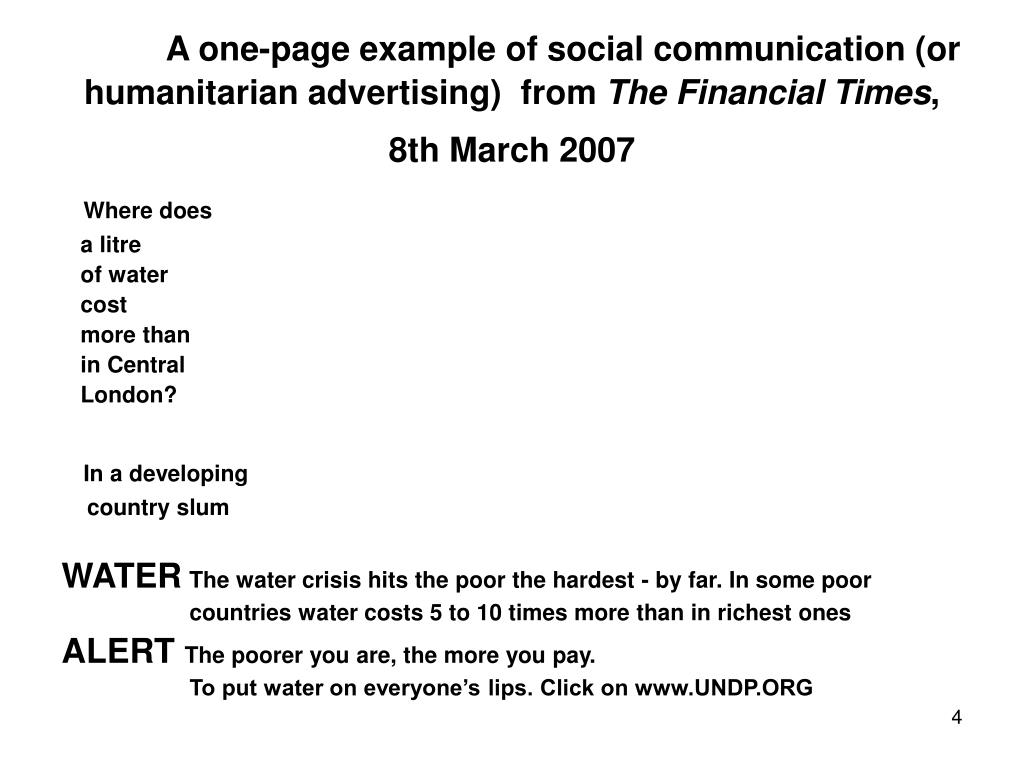 A one-page example of social communication (or humanitarian advertising)  from