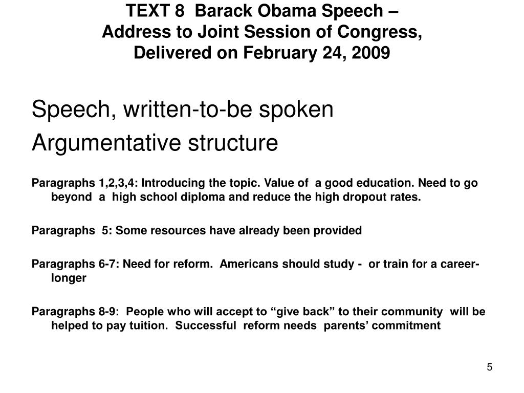 TEXT 8  Barack Obama Speech –