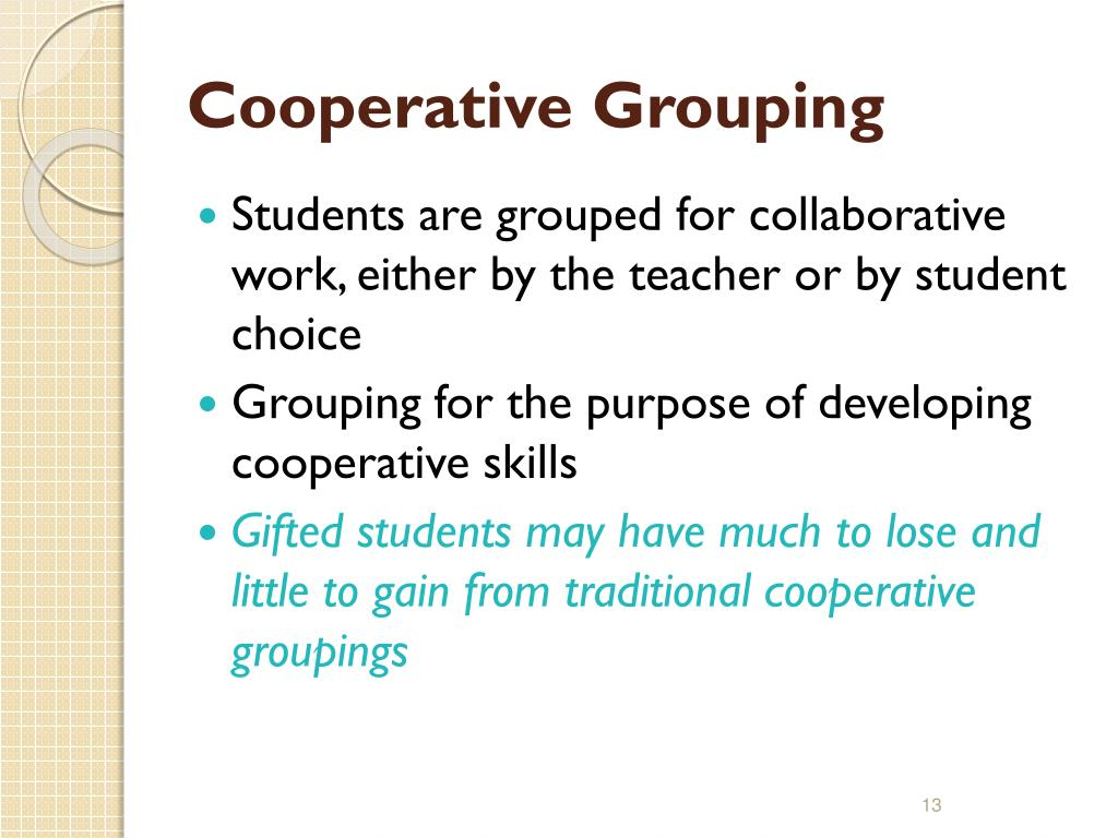 Cooperative Grouping
