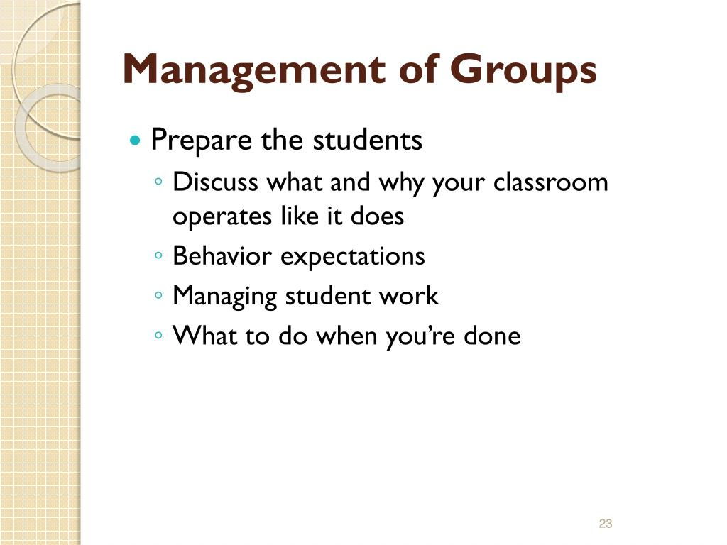 Management of Groups