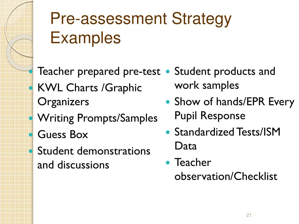 Pre-assessment Strategy Examples