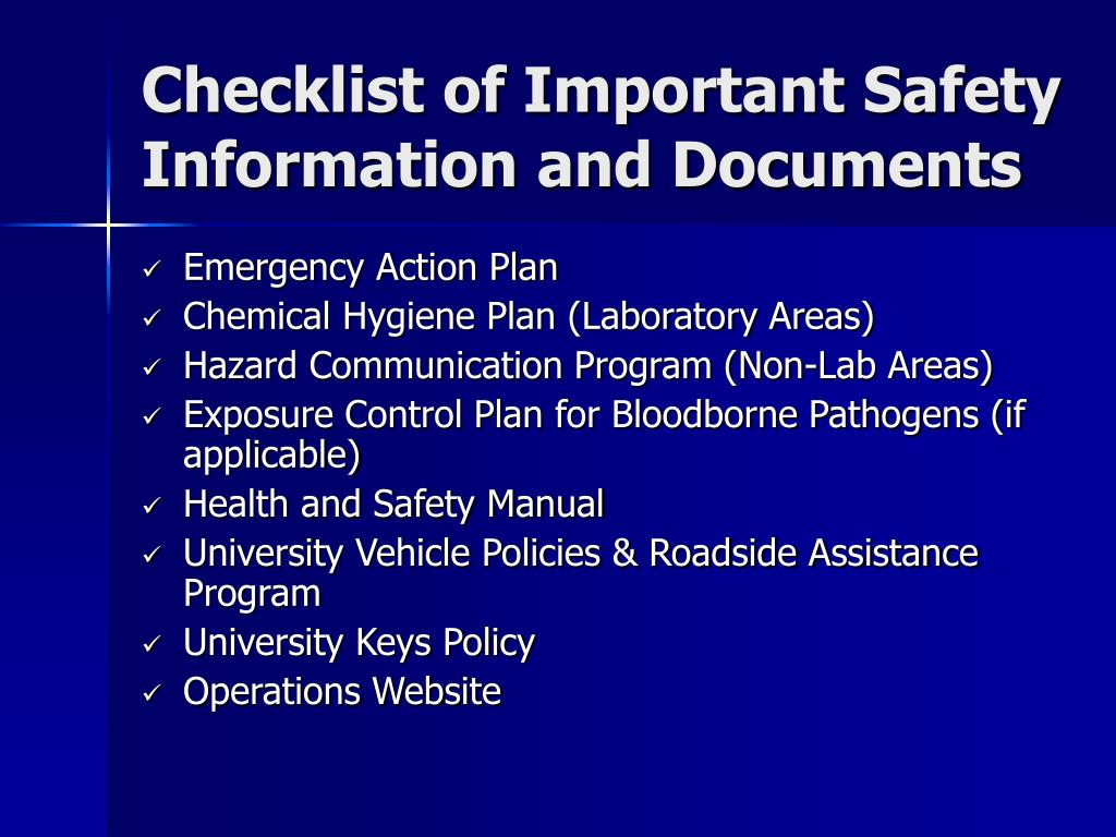 Checklist of Important Safety Information and Documents