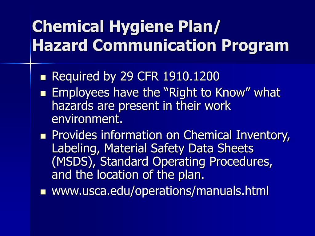 Chemical Hygiene Plan/