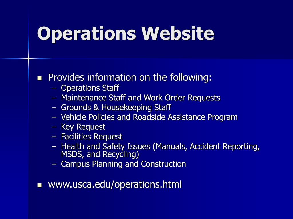 Operations Website