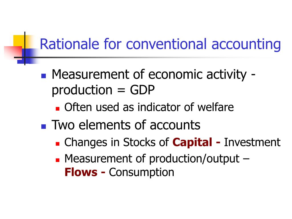 Rationale for conventional accounting