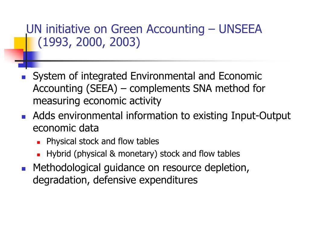 UN initiative on Green Accounting – UNSEEA (1993, 2000, 2003)