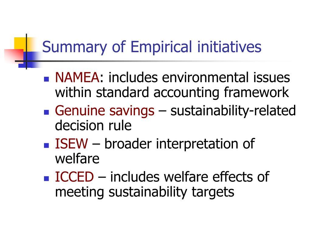 Summary of Empirical initiatives
