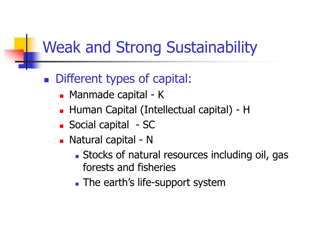 Weak and Strong Sustainability