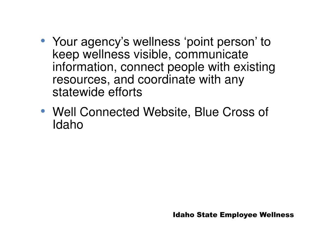 Your agency's wellness 'point person' to keep wellness visible, communicate information, connect people with existing resources, and coordinate with any statewide efforts