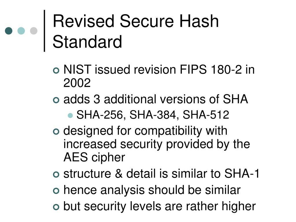 Revised Secure Hash Standard