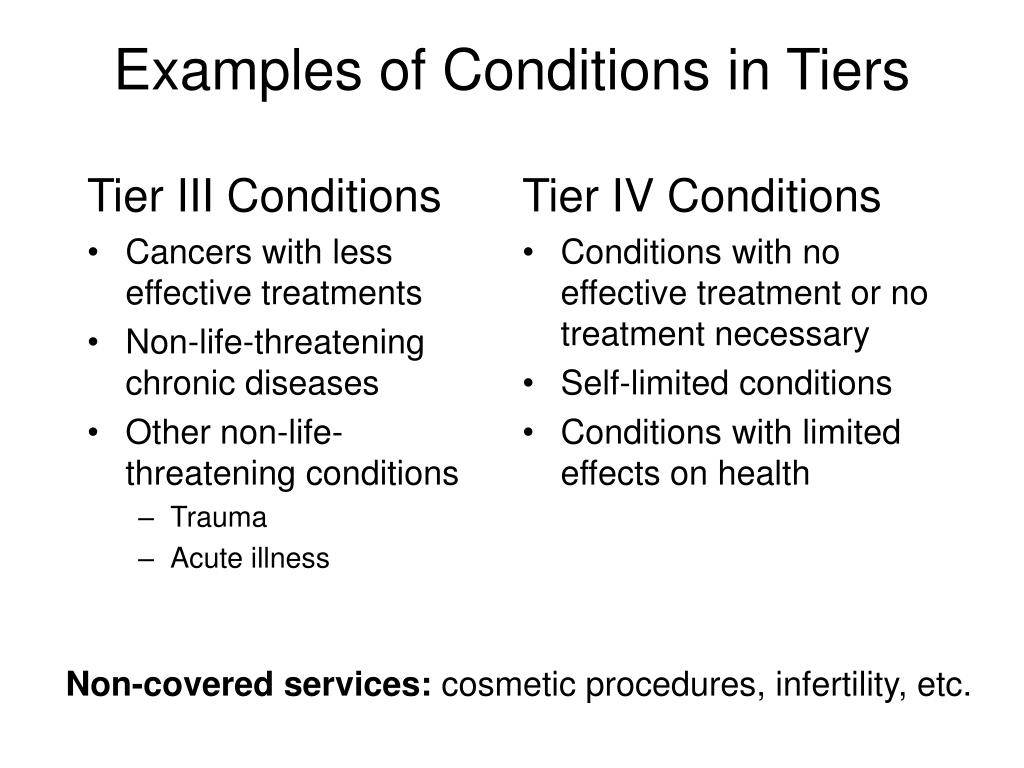 Examples of Conditions in Tiers