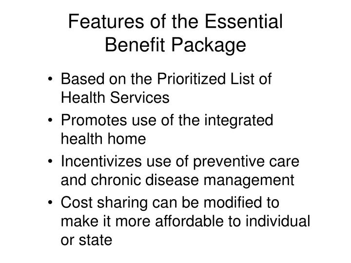 Features of the essential benefit package