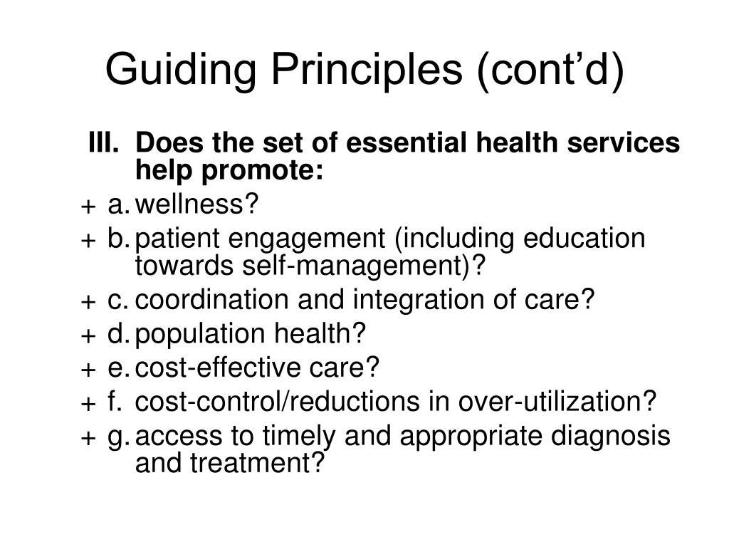 Guiding Principles (cont'd)