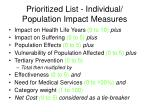 prioritized list individual population impact measures