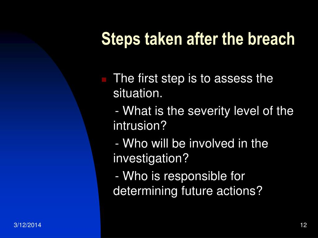 Steps taken after the breach