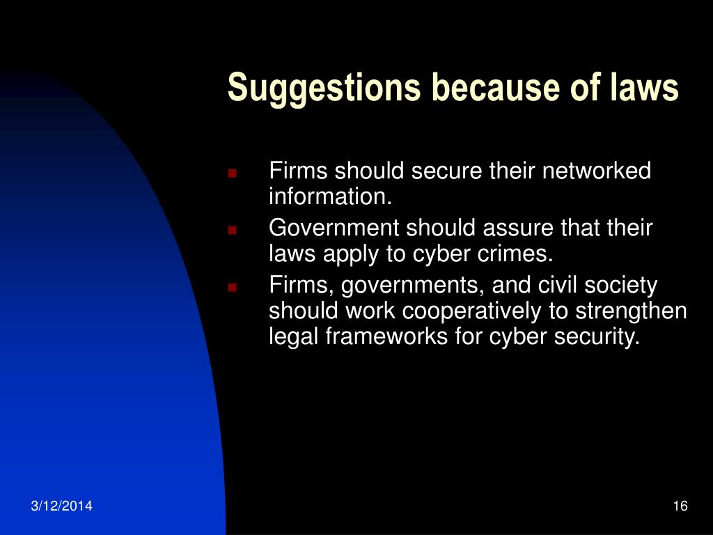 Suggestions because of laws