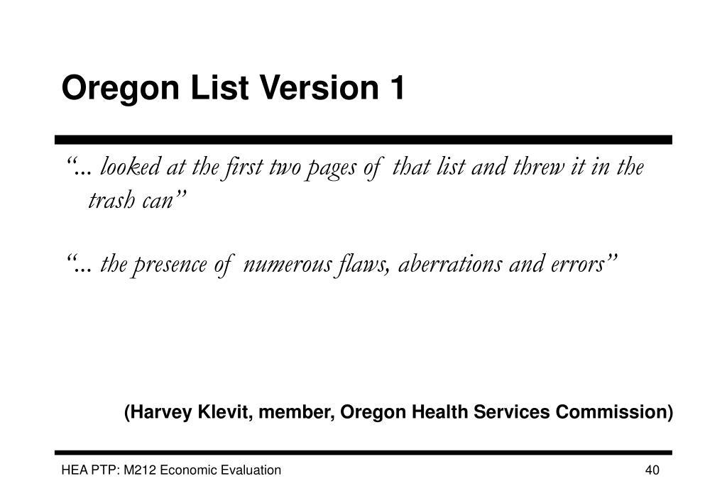 Oregon List Version 1
