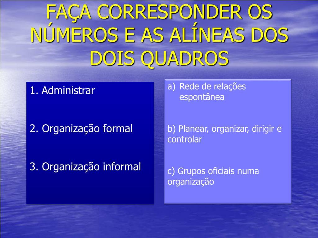 FAÇA CORRESPONDER OS NÚMEROS E AS ALÍNEAS DOS DOIS QUADROS