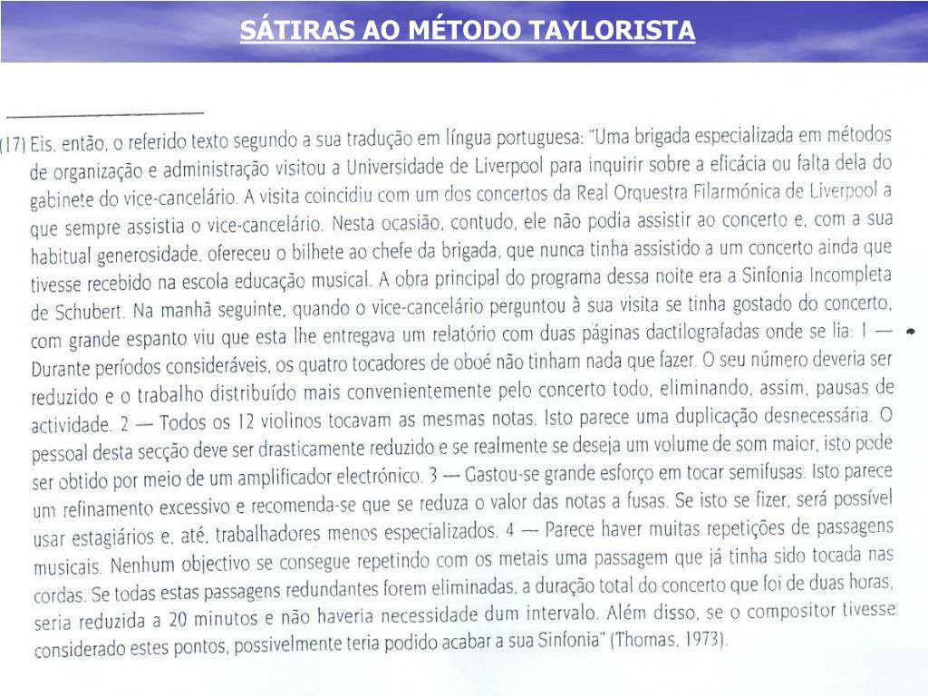 SÁTIRAS AO MÉTODO TAYLORISTA