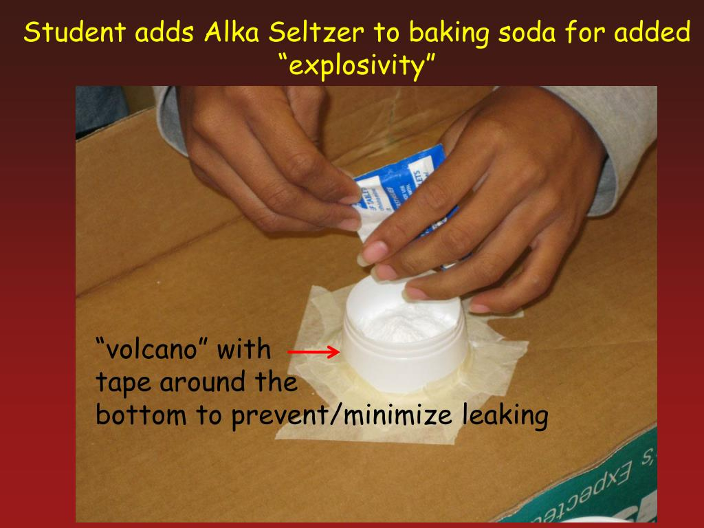 Student adds Alka Seltzer to baking soda for added