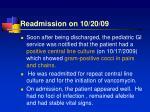 readmission on 10 20 09