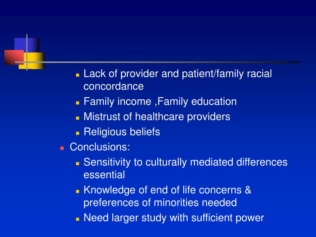 Lack of provider and patient/family racial concordance