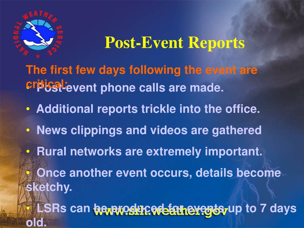 Post-Event Reports