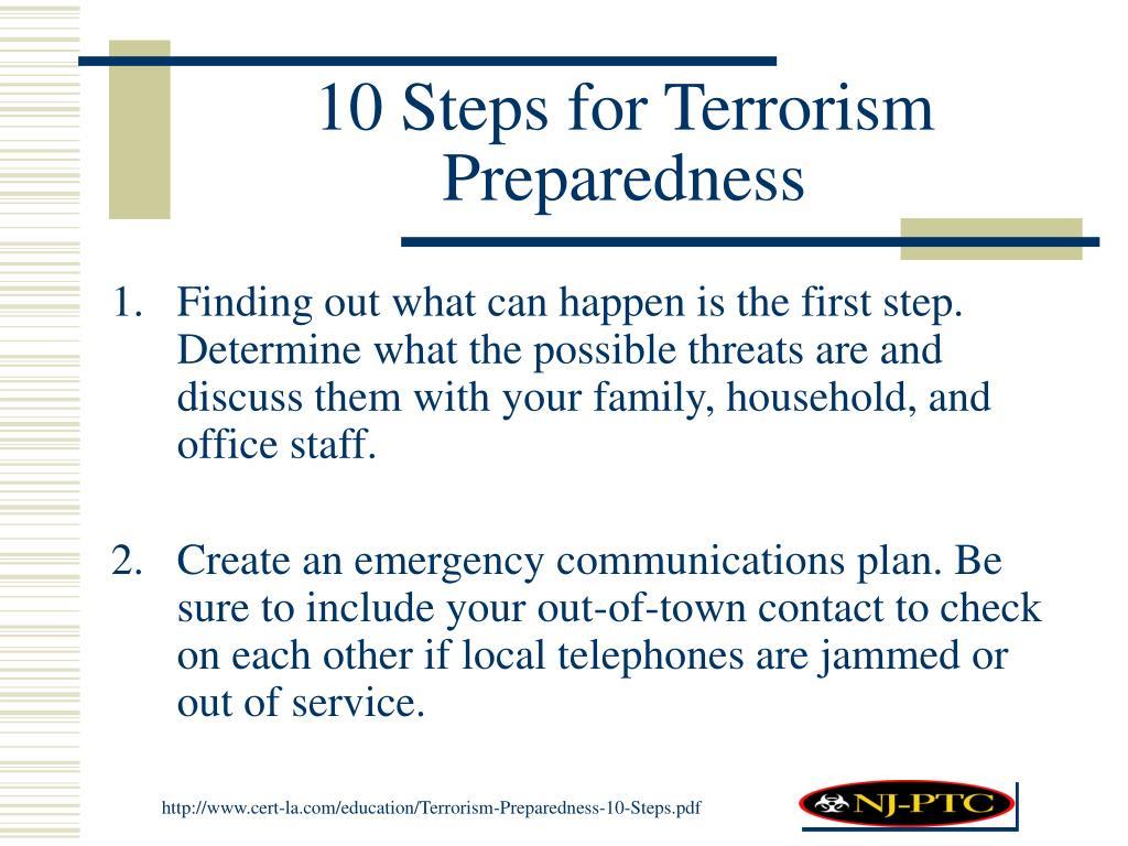 10 Steps for Terrorism Preparedness