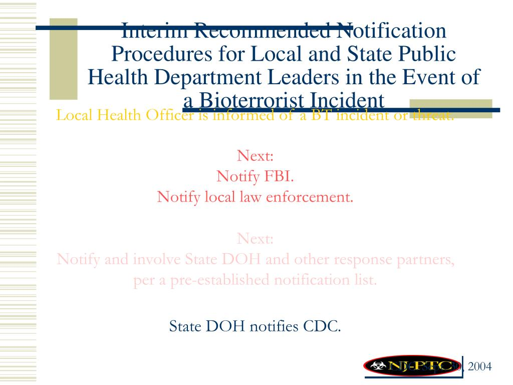 Interim Recommended Notification Procedures for Local and State Public Health Department Leaders in the Event of a Bioterrorist Incident
