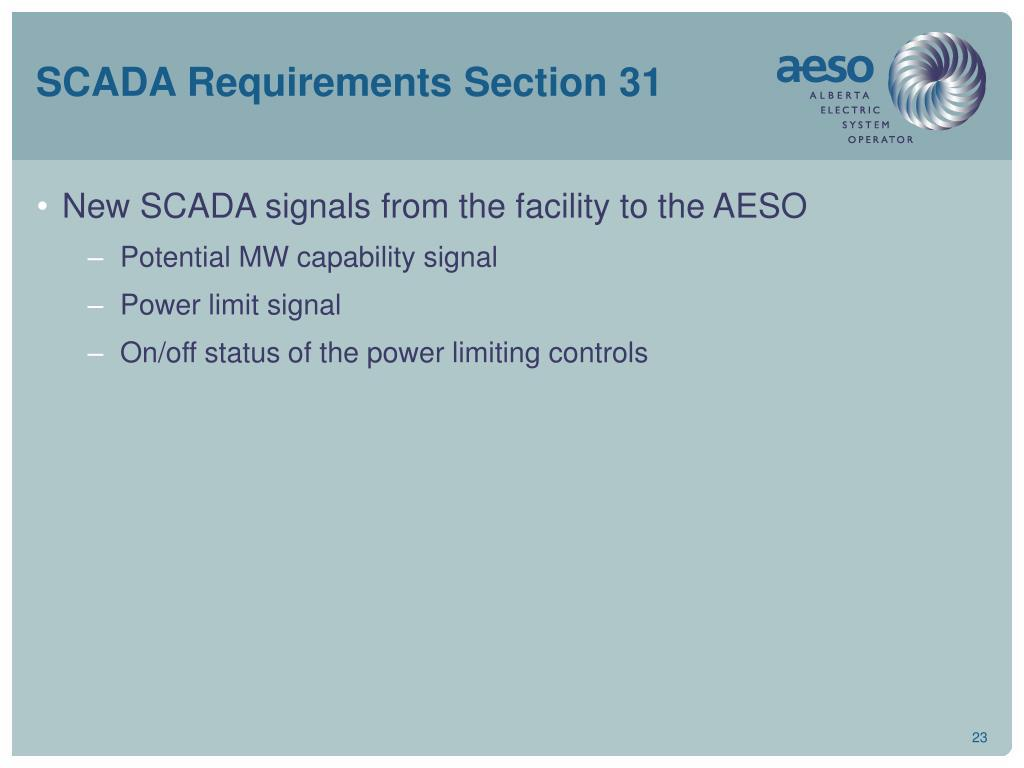 SCADA Requirements Section 31