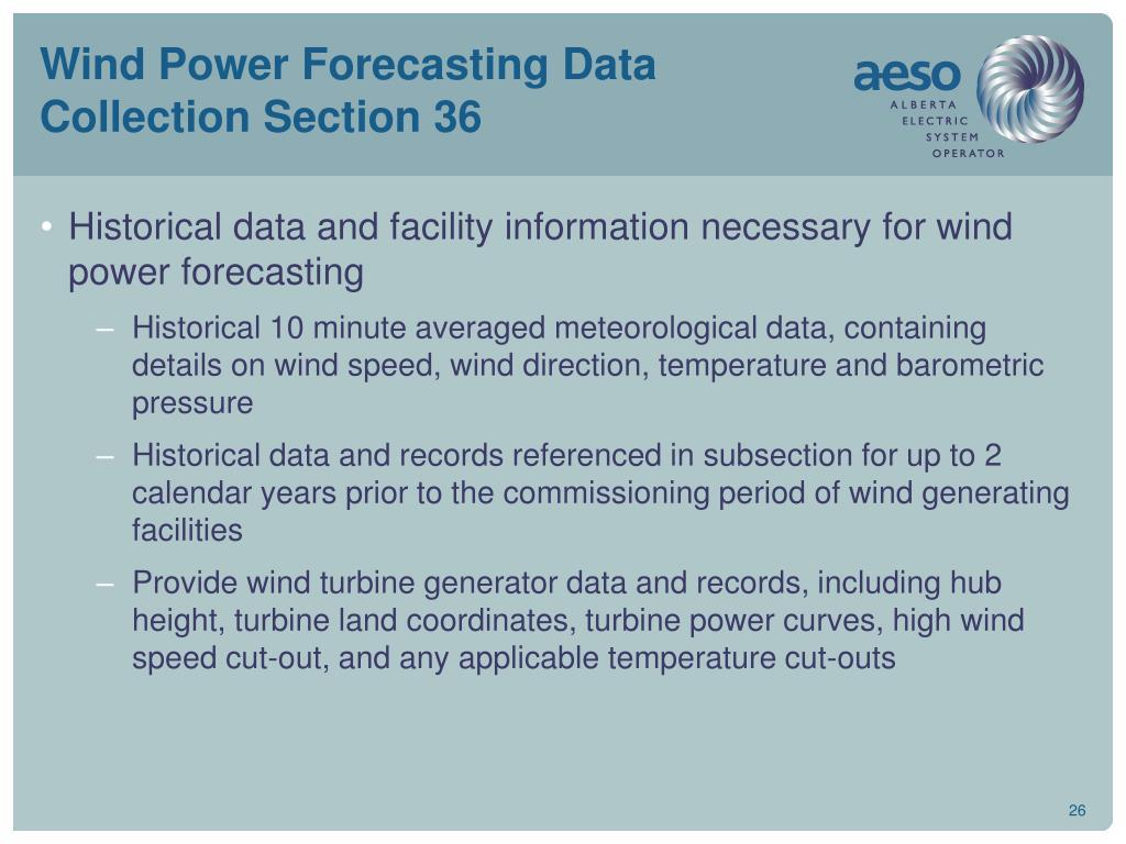 Wind Power Forecasting Data Collection Section 36