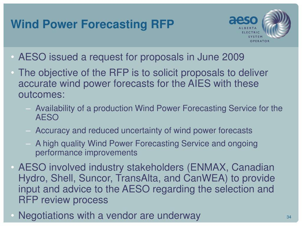 Wind Power Forecasting RFP