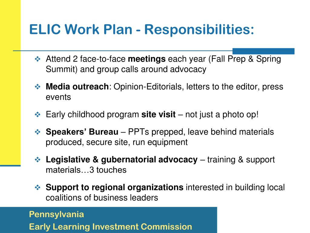 ELIC Work Plan - Responsibilities: