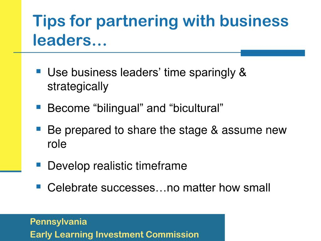 Tips for partnering with business leaders…