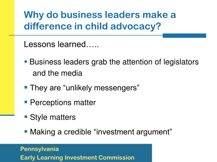 Why do business leaders make a difference in child advocacy