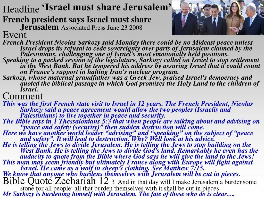 'Israel must share Jerusalem'