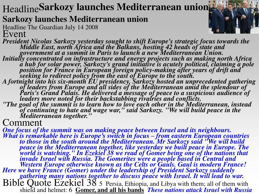 Sarkozy launches Mediterranean union