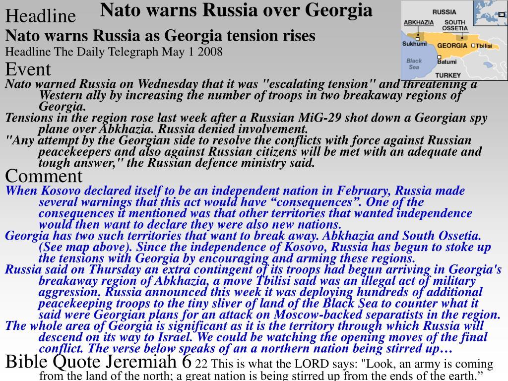 Nato warns Russia over Georgia