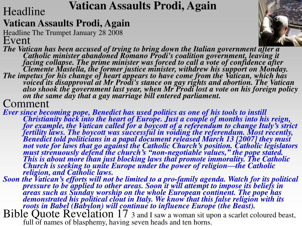 Vatican Assaults Prodi, Again