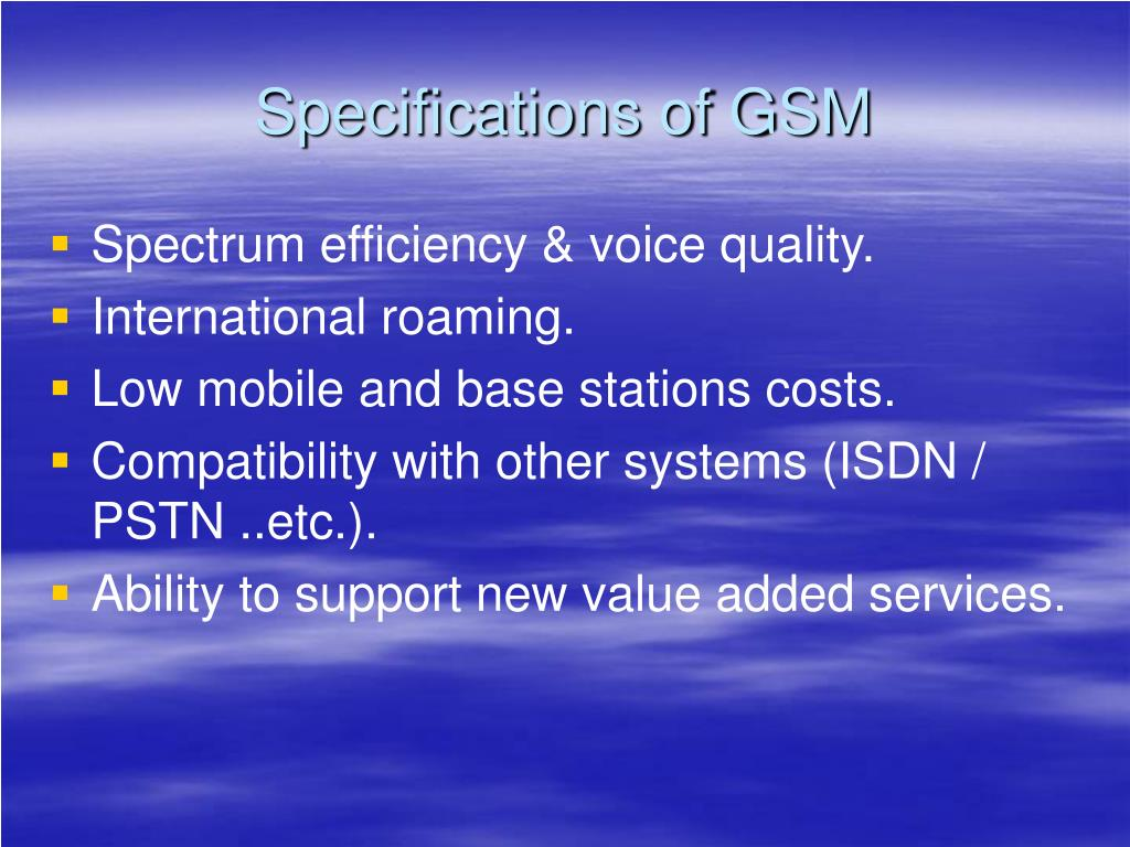 Specifications of GSM